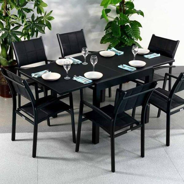 Chloe Table - Black (6 seater set)