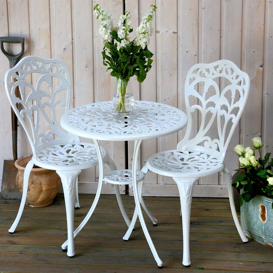White 2 seater Tulip bistro set