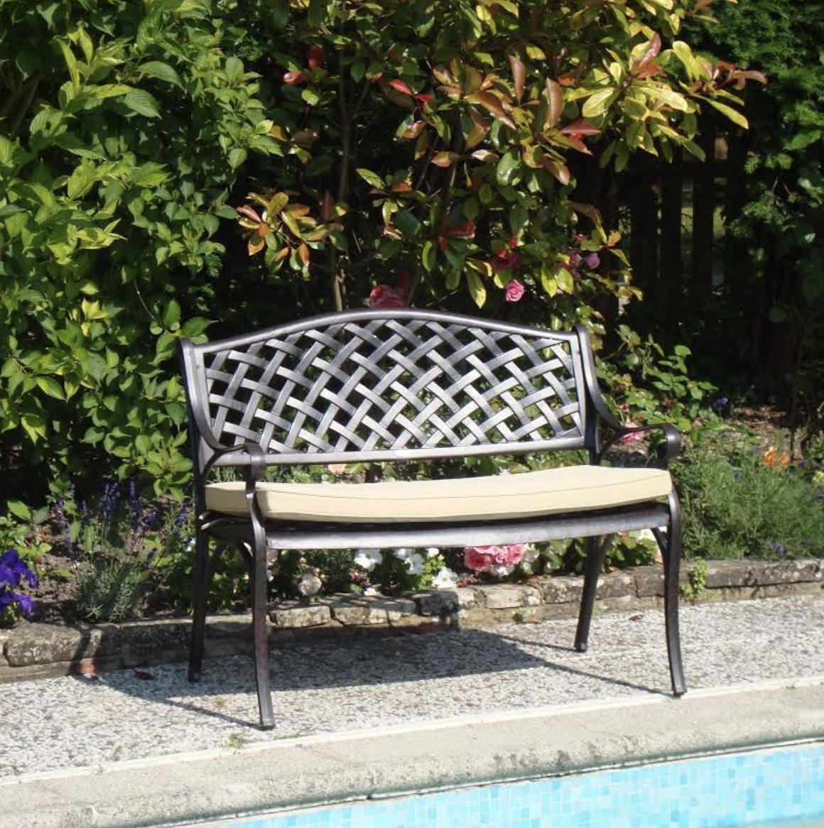 Lattice Bench Cushion in Stone