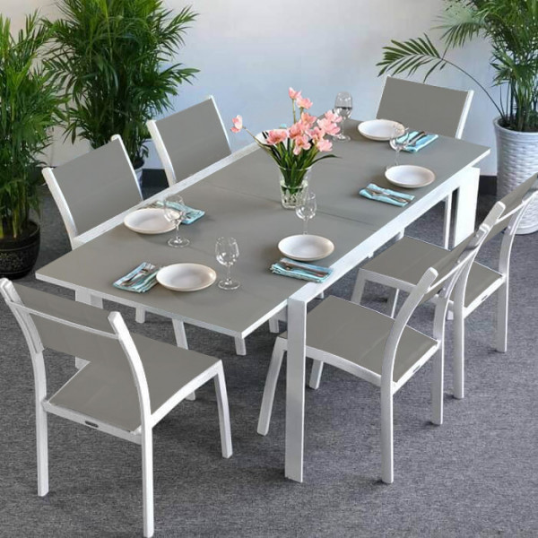 Janine Table - White & Champagne (6 seater set)