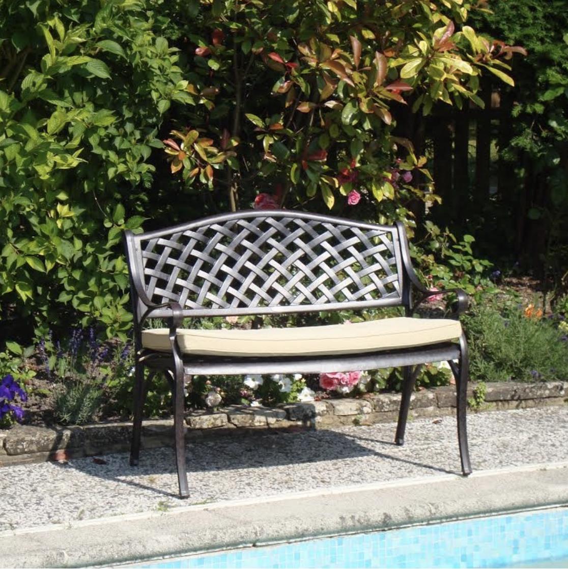 Lattice Garden Bench Cushion in Stone