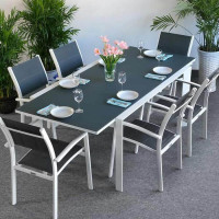 Janine Table - White & Grey (6 seater set)