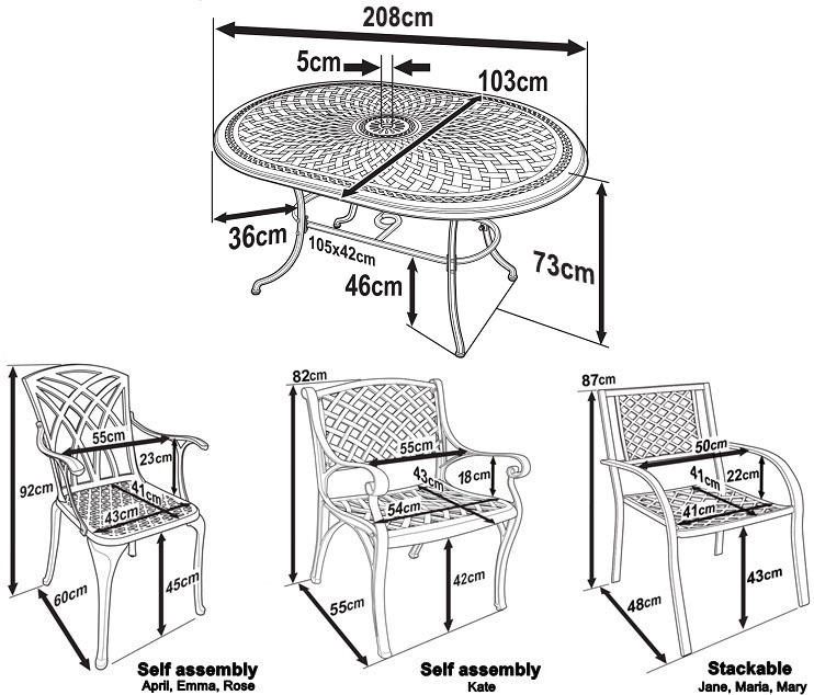 Catherine Table and Chairs Dimensions
