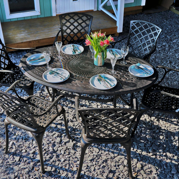 6 Seater Emily Outdoor Table Chair Set In Bronze Lazy Susan