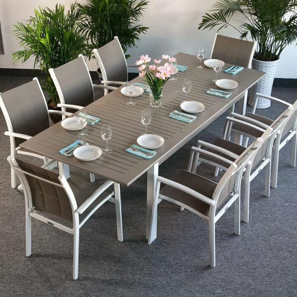 Virginia Table - White & Champagne (8 seater set)