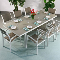 Beatrice Table - White & Champagne (8 seater set)