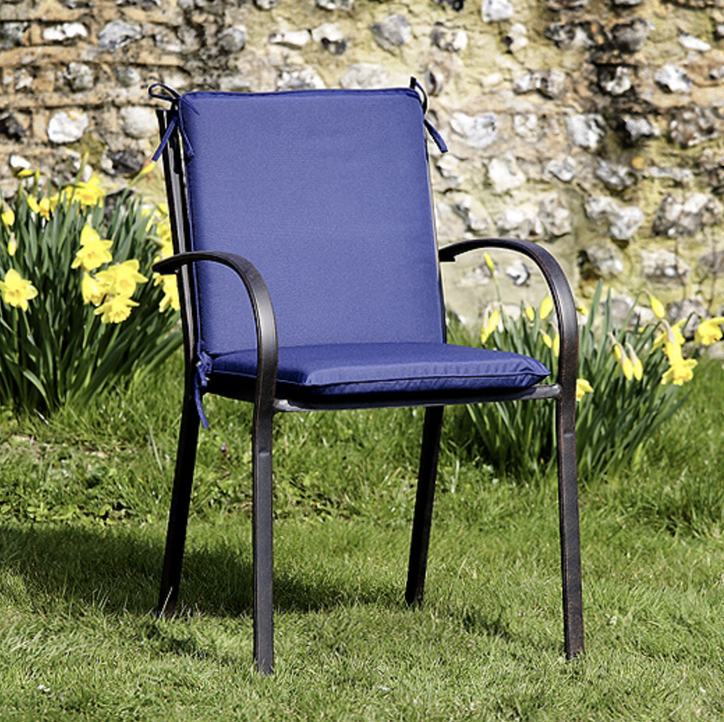 High Back Garden Seat Cushion in Blue