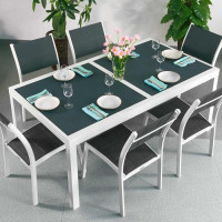 Florence Table - White & Grey (6 seater set)