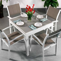 Chloe Table - White & Champagne (4 seater set)