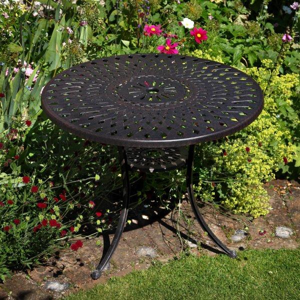 Mia 90cm Round Metal Outdoor Garden, Cast Aluminium Garden Tables Uk