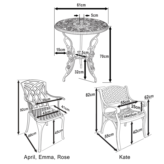 London Rose Bistro Set