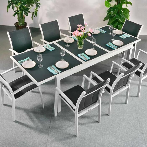 Florence Table - White & Grey (8 seater set)