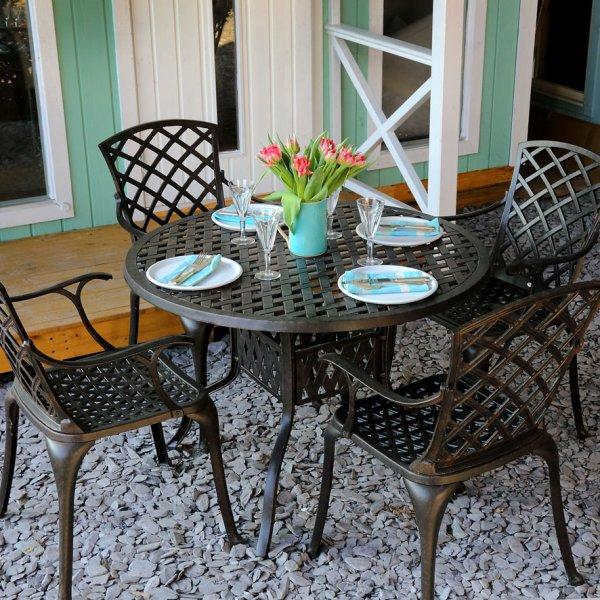 103cm round 4 seater garden table set 14