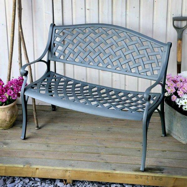 Slate Jasmine Metal Garden Bench