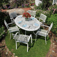 Nicole Table - White (6 seater set)