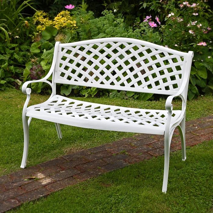 White Jasmine Metal Lattice Garden, 3 Seater Cast Aluminium Garden Bench