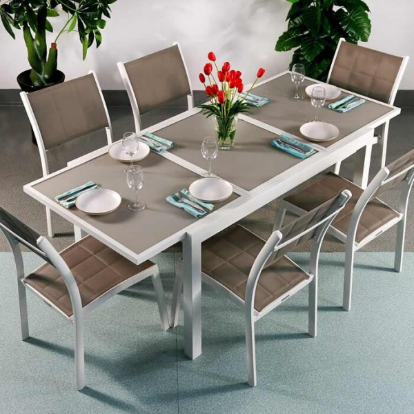 6_Seater_Modern_Aluminium_Glass_Top_White_Champagne_Extending_Garden_Furniture_Outdoor_Dining_Table_Set_1