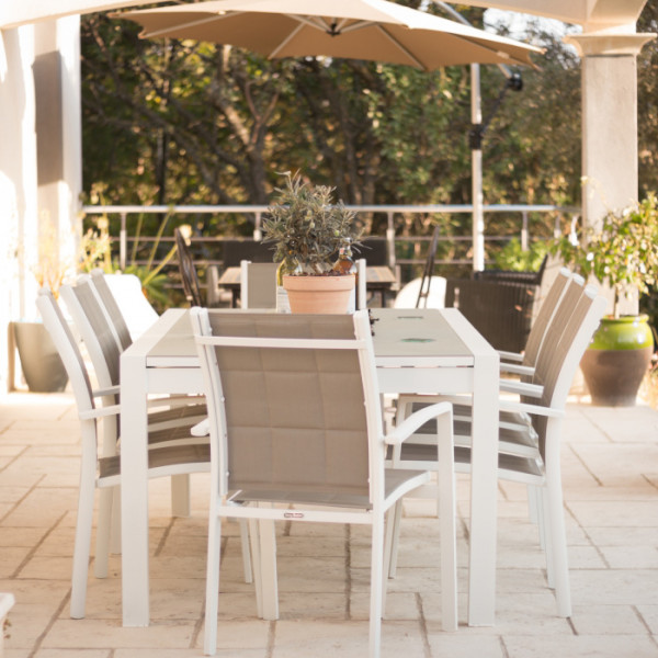 Violet Table - White & Champagne (8 seater set)