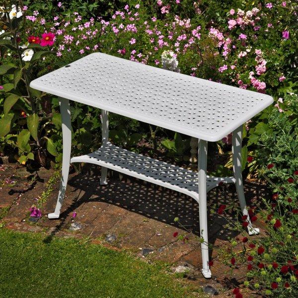White_Rectangular_Cast_Aluminium_Metal_Garden_Furniture_BBQ_Side_Table_3