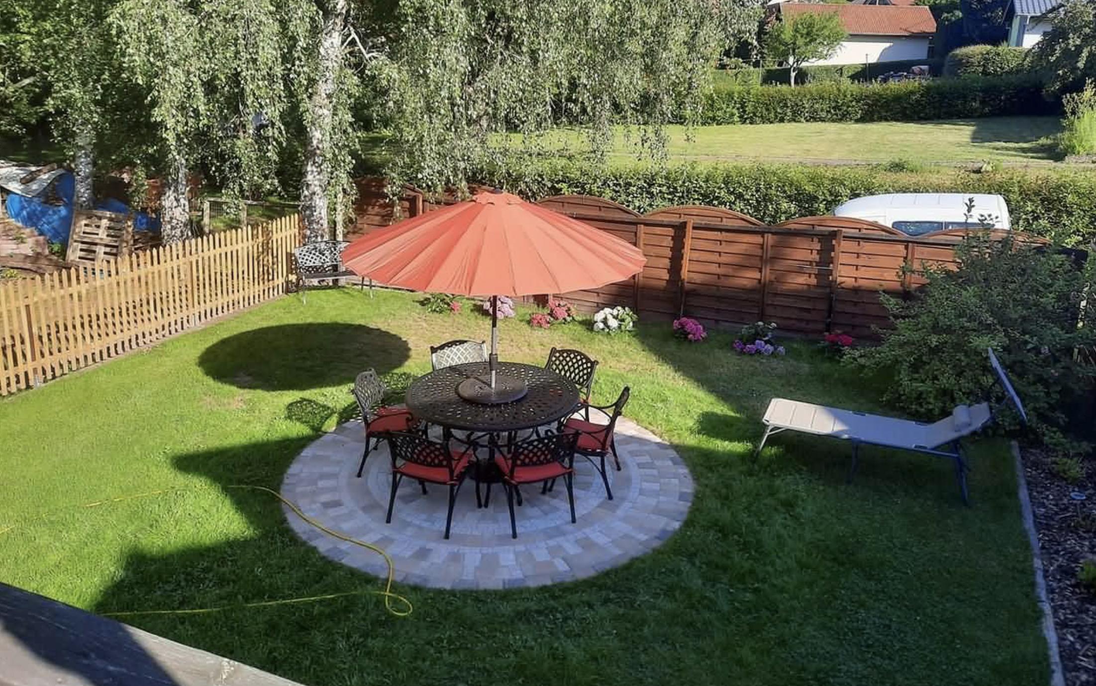Garden Bench as a focal point at bottom of garden
