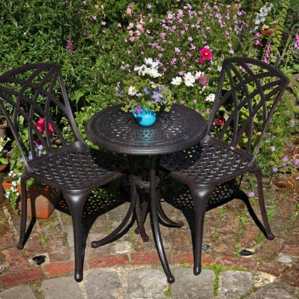 Ella Bistro Table - Antique Bronze (2 seater set)