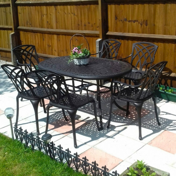 Oval Cast Aluminium 6 Seater Patio Set, Best Spray Paint For Metal Outdoor Furniture Uk