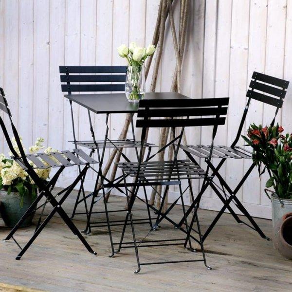 Zara Bistro Set - Black (4 seater set)