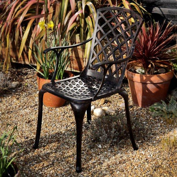 Garden Chair In Antique Bronze, Cast Aluminium Garden Seat