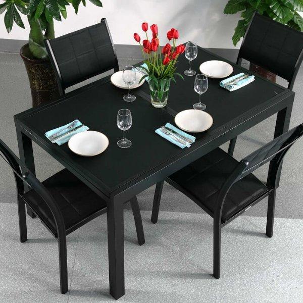 Modern_Glass_Aluminium_Black_4_Seater_Extending_Garden_Outdoor_Comfortable_Dining_Table_Set_1