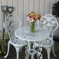 London Rose Bistro Set - White (2 Seater Set)