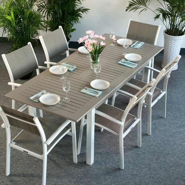Lottie Table - White & Champagne (6 seater set)
