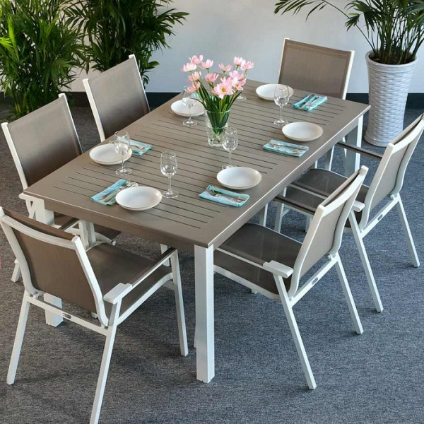 White_Champagne_Modern_6_Seater_Metal_Top_Practical_Extending_Outdoor_Garden_Furniture_Dining_Table_Set_5