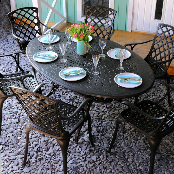 Charlotte 6 seater oval garden table set 18