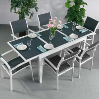 Daisy Table - White & Grey (6 seater set)
