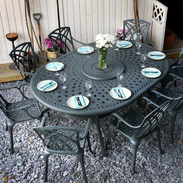 Slate ROSEMARY 210x150cm Oval Cast Aluminium Garden Table Set
