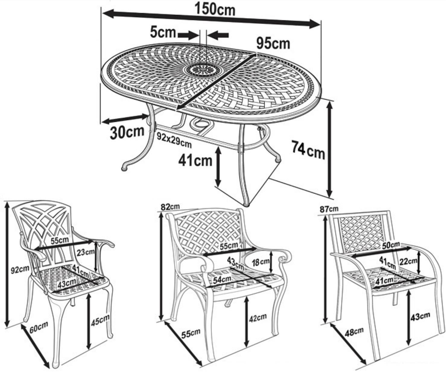 June Patio Table Dimensions