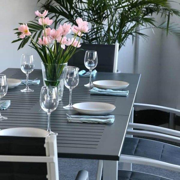 Lottie Table - White & Grey (6 seater set)