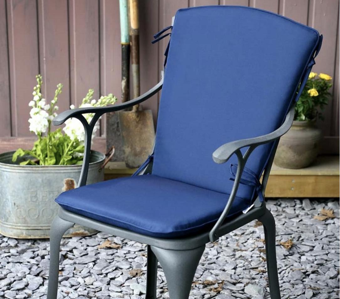 Blue Curved Back Cushion