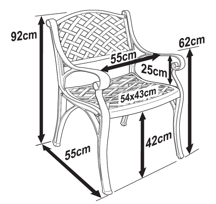Kate Chair Dimensions Diagram