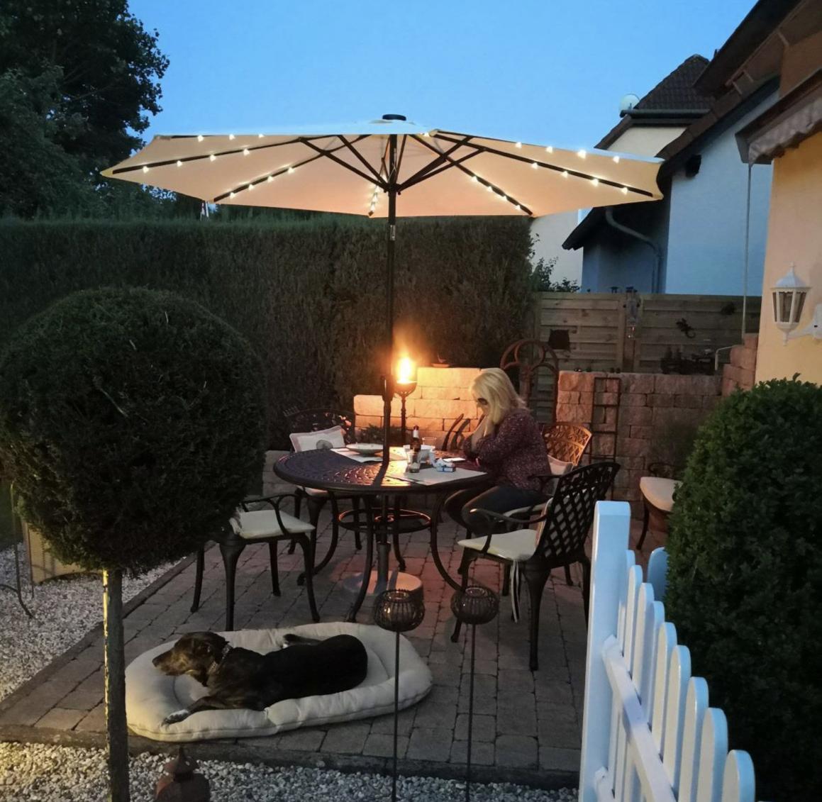 Our Alice Garden Table & Garden Parasol with Garden Fairy Lights