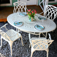 Emily Table - White - (4 seater set)