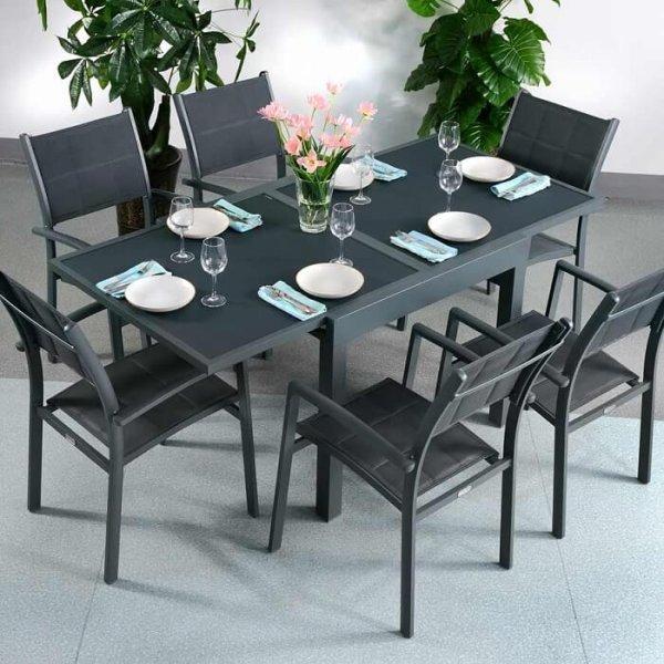 6_Seater_Modern_Grey_Metal_Aluminium_Weatherproof_Extending_Outdoor_Garden_Glass_Top_Dining_Table_Set_2