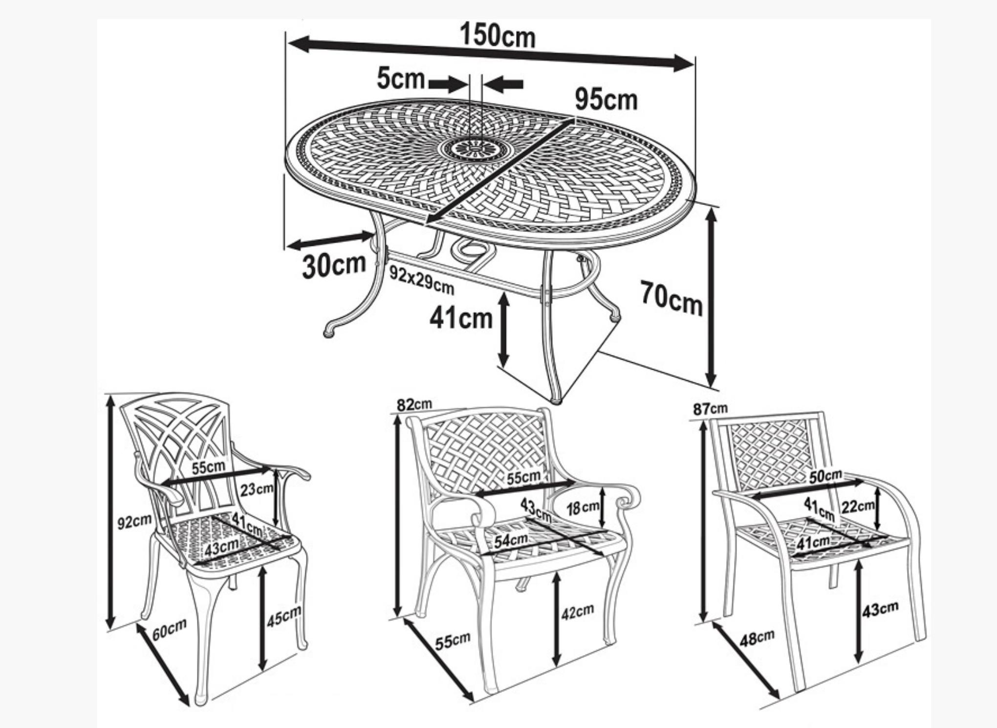 June Garden Table Dimensions