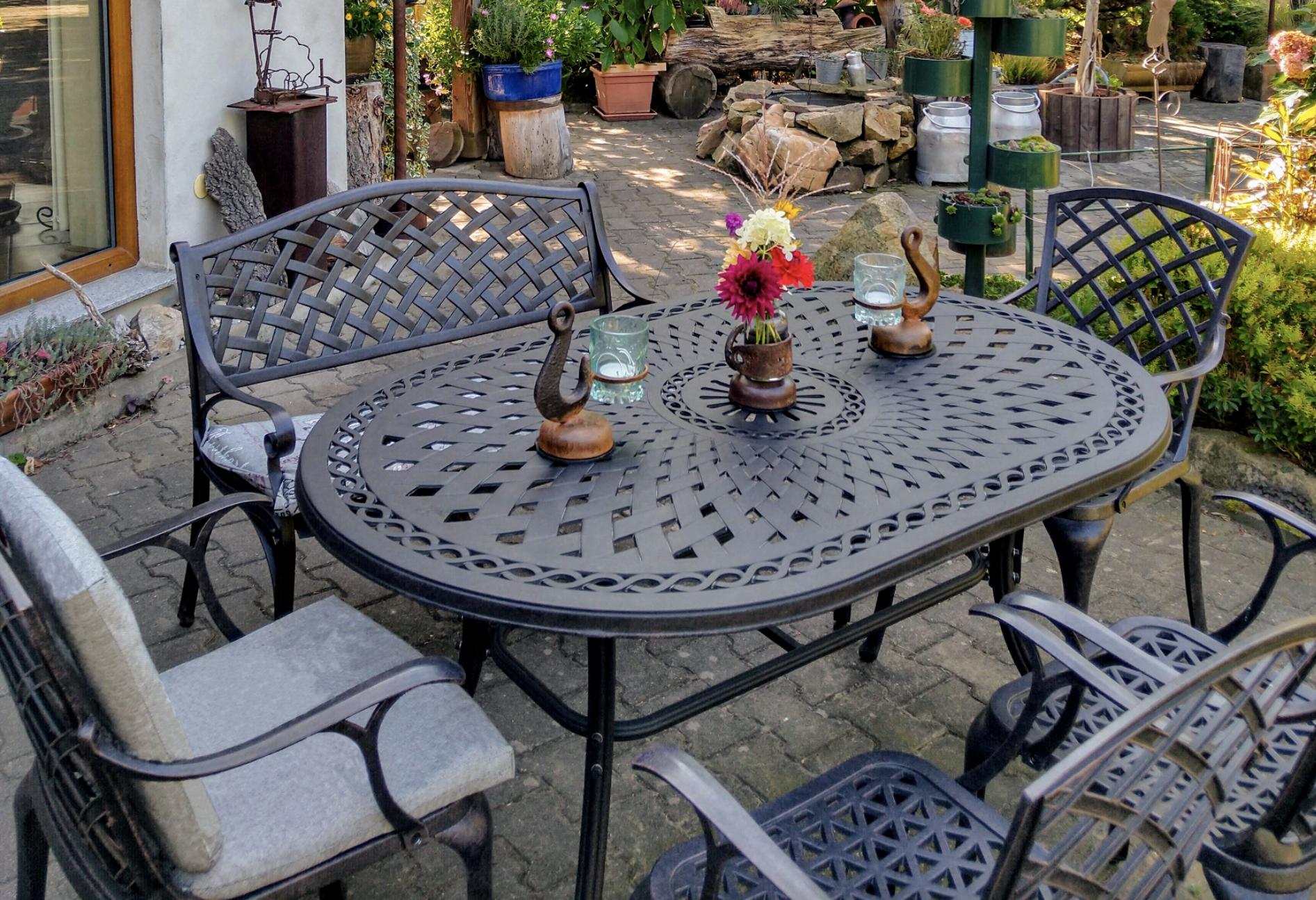 June 4 Seater Garden Table with Jasmin Garden Bench
