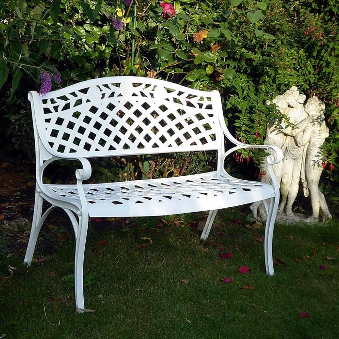 The Rose Garden Or Patio Bench Seat, White Cast Aluminium Garden Bench