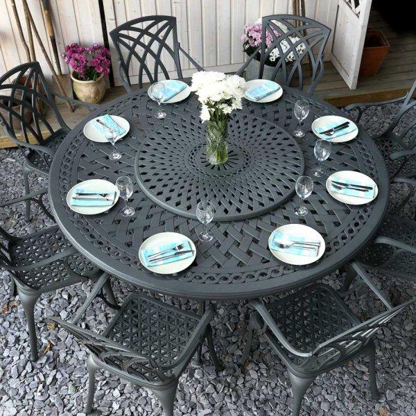 Slate OLIVIA 180cm Round Cast Aluminium Garden Set