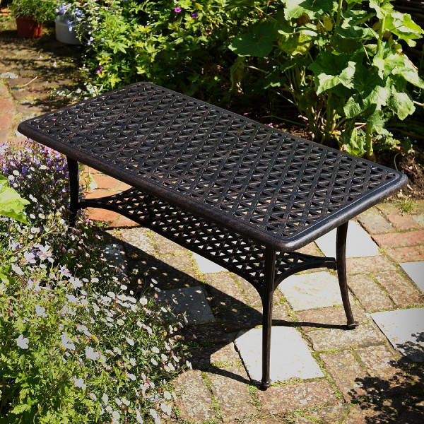 Patio Coffee Table Antique Bronze, White Wrought Iron Garden Furniture Uk