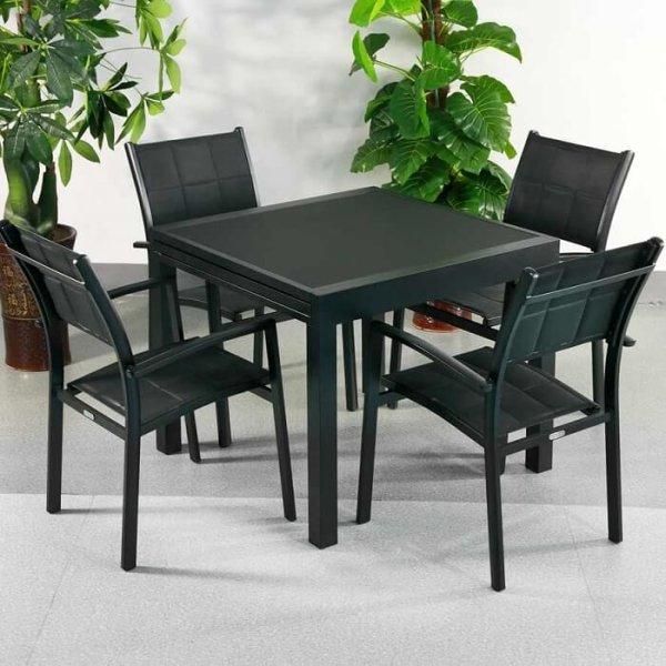 4_Seater_Petite_Modern_Black_Metal_Aluminium_Weatherproof_Extending_Outdoor_Garden_Glass_Top_Dining_Table_Set_0