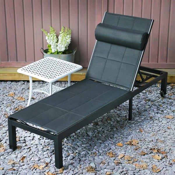 Michelle Lounger - Black (200cm aluminium sun lounger with outdoor fabric)