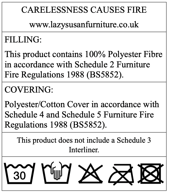 Lazy Susan Outdoor Furniture Cushion Care Label